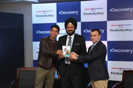 Meraj Shah, Presenter, #Indiamyway, Mr. Karamjit Dua, VP - Advertising Sales (South Asia), Discovery Networks Asia-Pacific and Mr. R.S Kalsi, Executive Director, Marketing and Sales, Maruti Suzuki (1).JPG