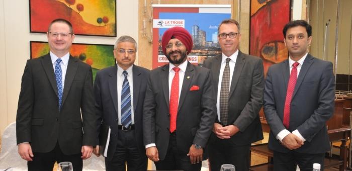 (L to R) Kelly Smith, Pro VC, La Trobe University_ Prof. Randeep Guleria, Director, AIIMS_ Prof. Dr. Gurinder Singh, Group VC, Amity University_ Prof. John Dewar, VC & President, La Trob