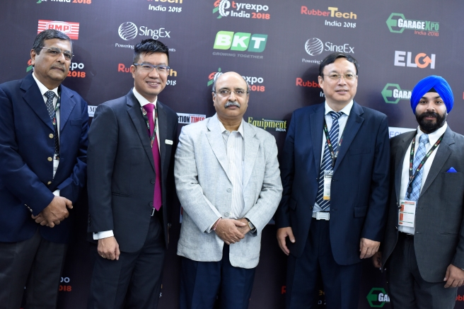 Mr PK Ganguly, BKT, Mr. Adrian seg, Singex, Mr. Rajiv Budharaj, Chairman AATMA, Mr. Wei yun curc, Mr Baldeep Singh, Singex India, Head..JPG